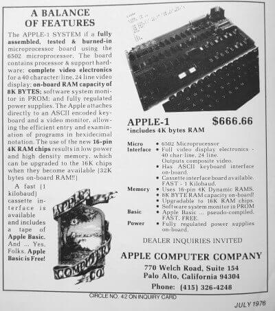 First Apple-1 ad